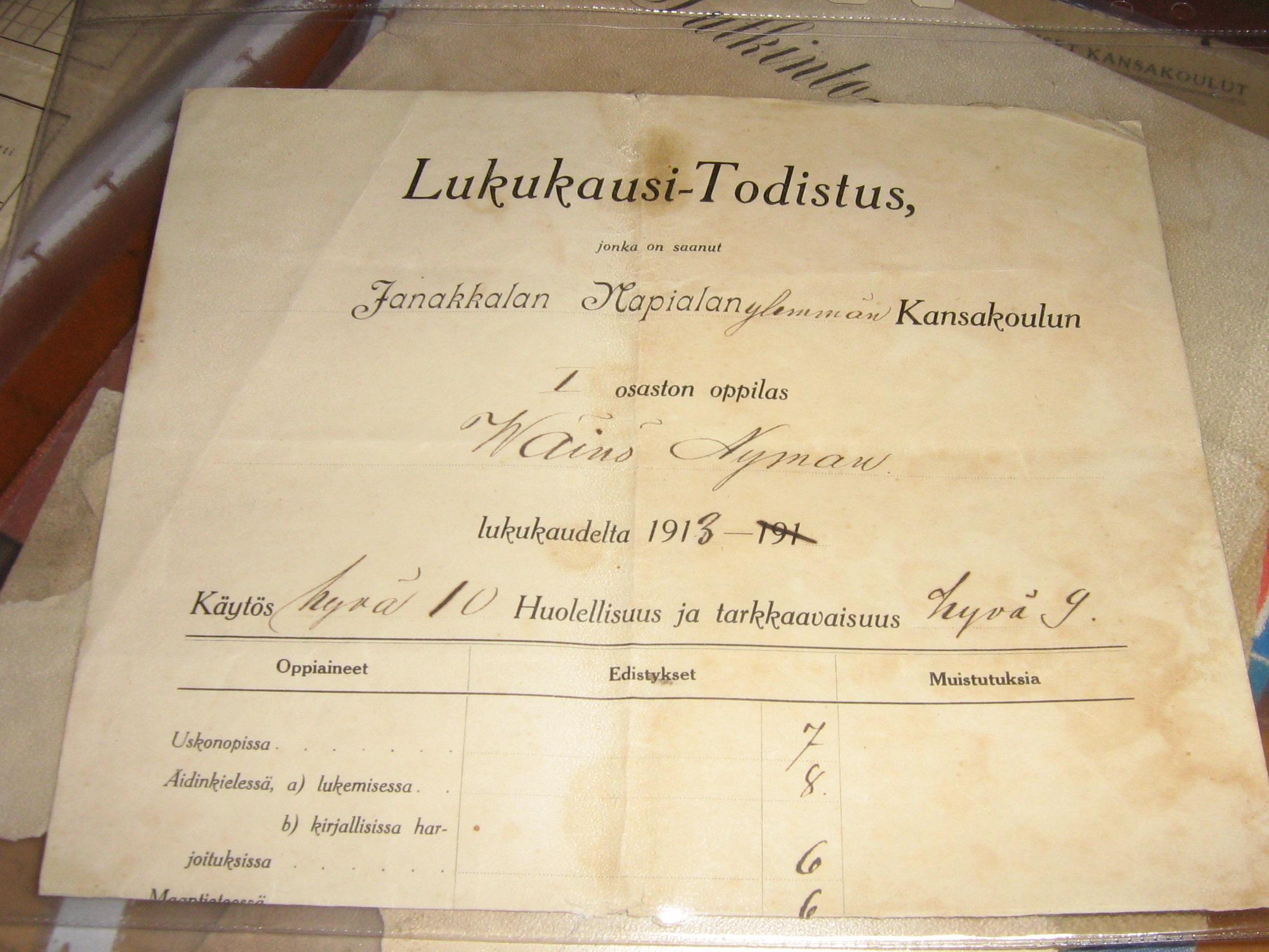 Wäinö Nymannin todistus 1913